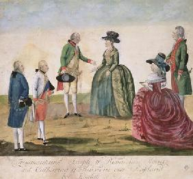 Meeting between Joseph II of Germany (1741-90) and Empress Catherine the Great (1729-96) at Koidak,