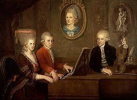 The family Leopold Mozart when playing instruments