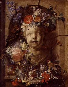 Child bust in niche adorned with flowers