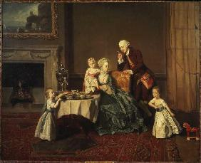 Portrait of the family of the 14th Lord Willoughby de Broke in the breakfast-room