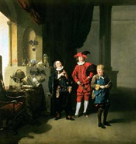 David Garrick with William Burton and John Palmer in 'The Alchemist' by Ben Jonson, 1770