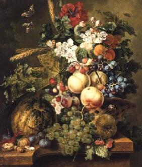 Fruit and Flowers on a Marble Ledge