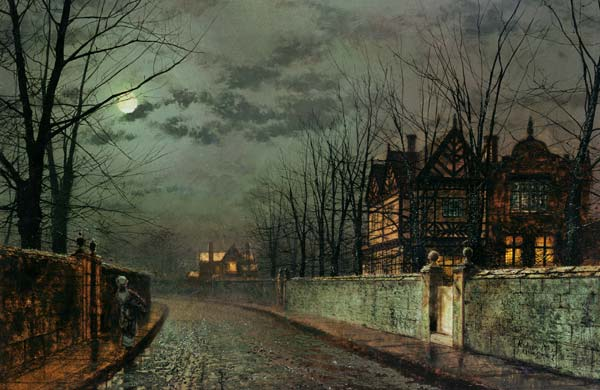 old english house moonlight after rain as art print or hand painted oil