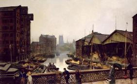 Leeds Bridge, 1880 (oil on canvas)