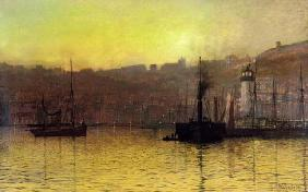 Nightfall in Scarborough Harbour, 1884 (oil on canvas)