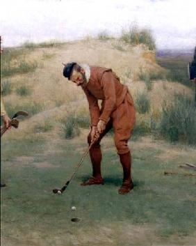 During the Time of the Sermonses, detail of the golfer
