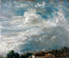 Cloud study, horizon of trees