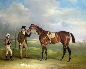 The Marquess of Cleveland's 'Chorister', held by trainer John Day Snr., with jockey John Day Jnr., a