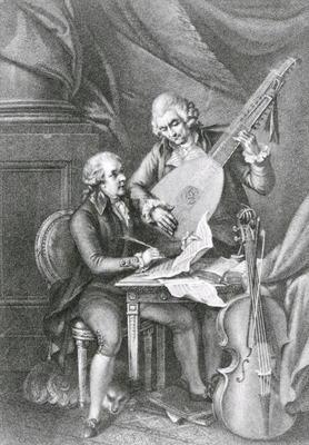 Portrait of Franz Joseph Haydn (1732-1809) and Wolfgang Amadeus Mozart (1756-91) composing music for