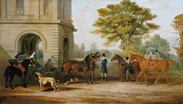 Lady Williams-Wynn horses and a coach in front of castle Wynnstay