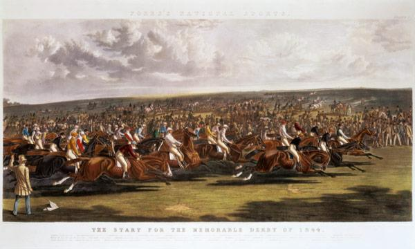 The Start of the Memorable Derby of 1844 engraved by Charles Hunt (1803-77)