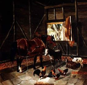 Stable Interior with Cart Horse and Donkey