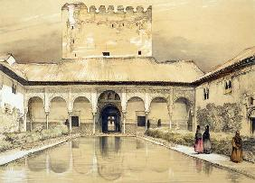 Court of the Myrtles (Patio de los Arrayanes) and the Tower of Comares, from 'Sketches and Drawings
