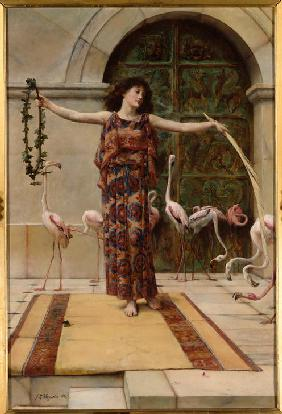 A Young Girl with Flamingos