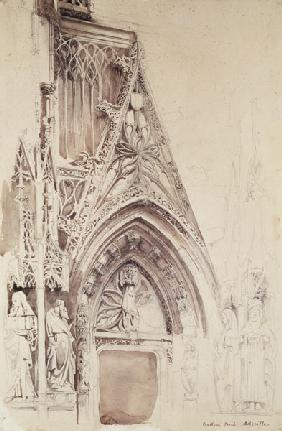 Southern Porch of St. Vulfran, Abbeville (pencil, ink & wash on paper)