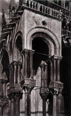 St. Mark's, Southern Portico, from 'Examples of the Architecture of Venice', by John Ruskin, aquatin