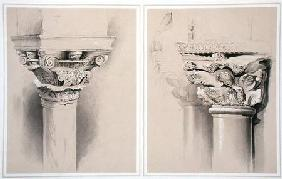 Torcello, Capital of Nave Pillar and St. Mark's, Capital from Central Porch, from 'Examples of the A