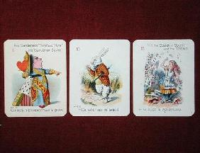 Three 'Happy Family' cards depicting characters from 'Alice in Wonderland' by Lewis Carroll (1832-98