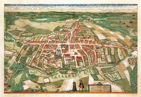 Map of Odense, from 'Civitates Orbis Terrarum' by Georg Braun (1541-1622) and Frans Hogenberg (1535-