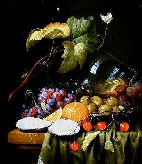 A Still Life of Fruits, Vines and an Oyster (oil on canvas)