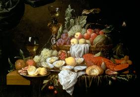 Still Life with Lemon, Oysters, Lobster and Fruit