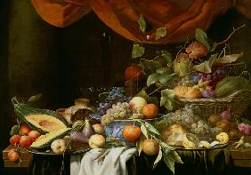 Son, Joris van : A Still Life of Fruit on a...