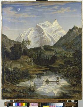 Mountains landscape with sea