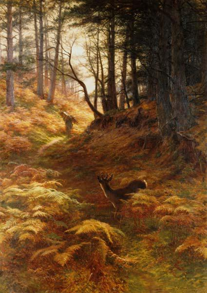 Woodland landscape with brushwood collector and roebuck