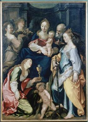 The Holy Family with angels as well as the hll. Barbara and Katharina.