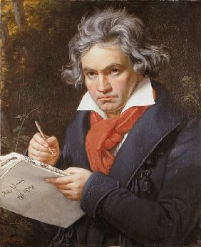 Portrait Ludwig van Beethoven when composing the Missa Solemnis.