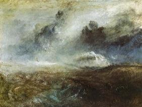 Wildly busy sea with wreck