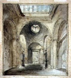 The anteroom of Sir Francis Chantrey's sculpture gallery in 30 Belgrave Place designed by Sir John S