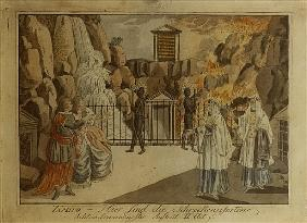 Scene from ''The Magic Flute'' Mozart, 1795 (hand coloured copper engraving)