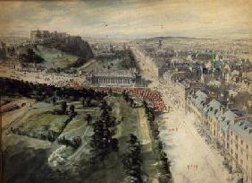 Princes Street, Edinburgh Looking West, 10.15 am August, 1847, showing Parade, West of the Instituti