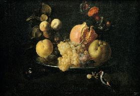 Still Life with Fruit and Goldfinch