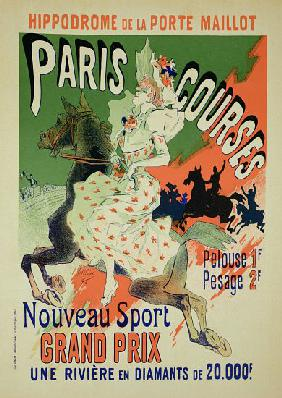 Reproduction of a poster advertising 'Paris Courses', at the Hippodrome de la Porte Maillot, Paris