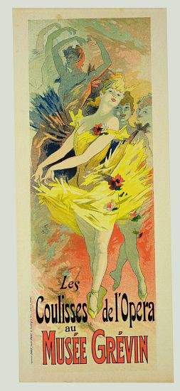 Reproduction of a poster advertising 'Back-Stage at the Opera', Musee Grevin