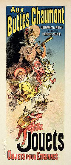 Reproduction of a poster advertising 'New Year Gifts at the Buttes Chaumont', Boulevard de la Villet