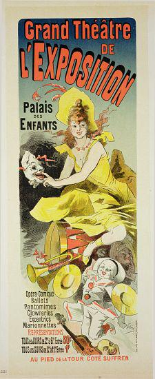 Reproduction of a poster advertising the 'Grand Theatre de L'Exposition', Palais des Enfants, Paris