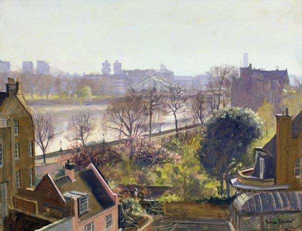 Chelsea Embankment from the Physic Garden (oil on canvas)