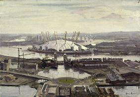 The Millennium Dome from Canary Wharf (oil on canvas)