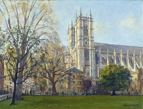 Westminster Abbey from Dean''s Yard (oil on canvas)