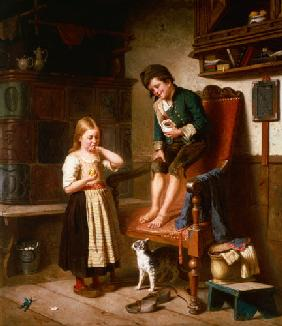 Two children with cat at a tiled stove