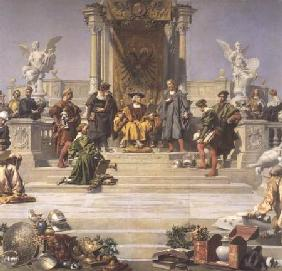 Patronage of the Arts by the House of Habsburg: central section of a ceiling painting