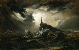 Stormy sea with Lighthouse