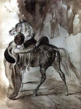 A Turk mounting a horse