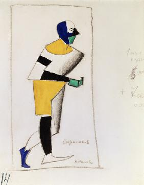 Sportsman. Costume design for the opera Victory over the sun by A. Kruchenykh