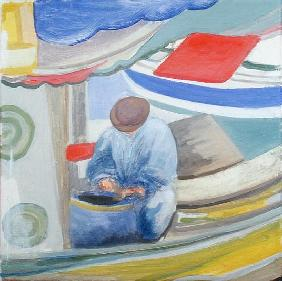 Greek Fisherman at the End of the Day (oil on canvas)