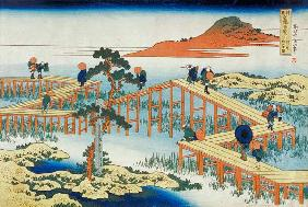 Eight part bridge, province of Mucawa, Japan, c.1830 (wood block print)
