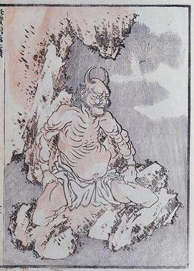 A genie, from a Manga (coloured woodblock print)